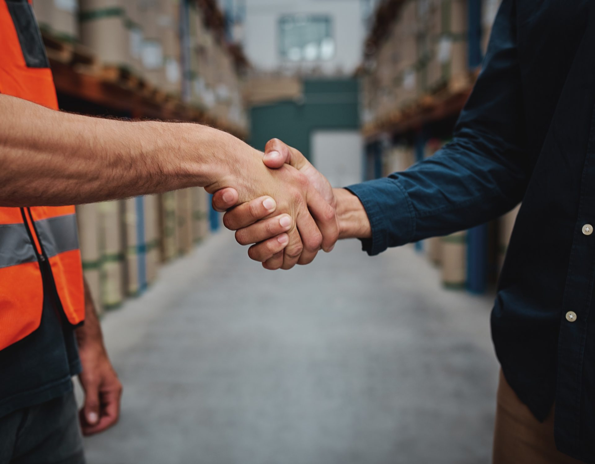 Close-up of two men handshake while concluding agreement about container rent and shaking hands - Foodex